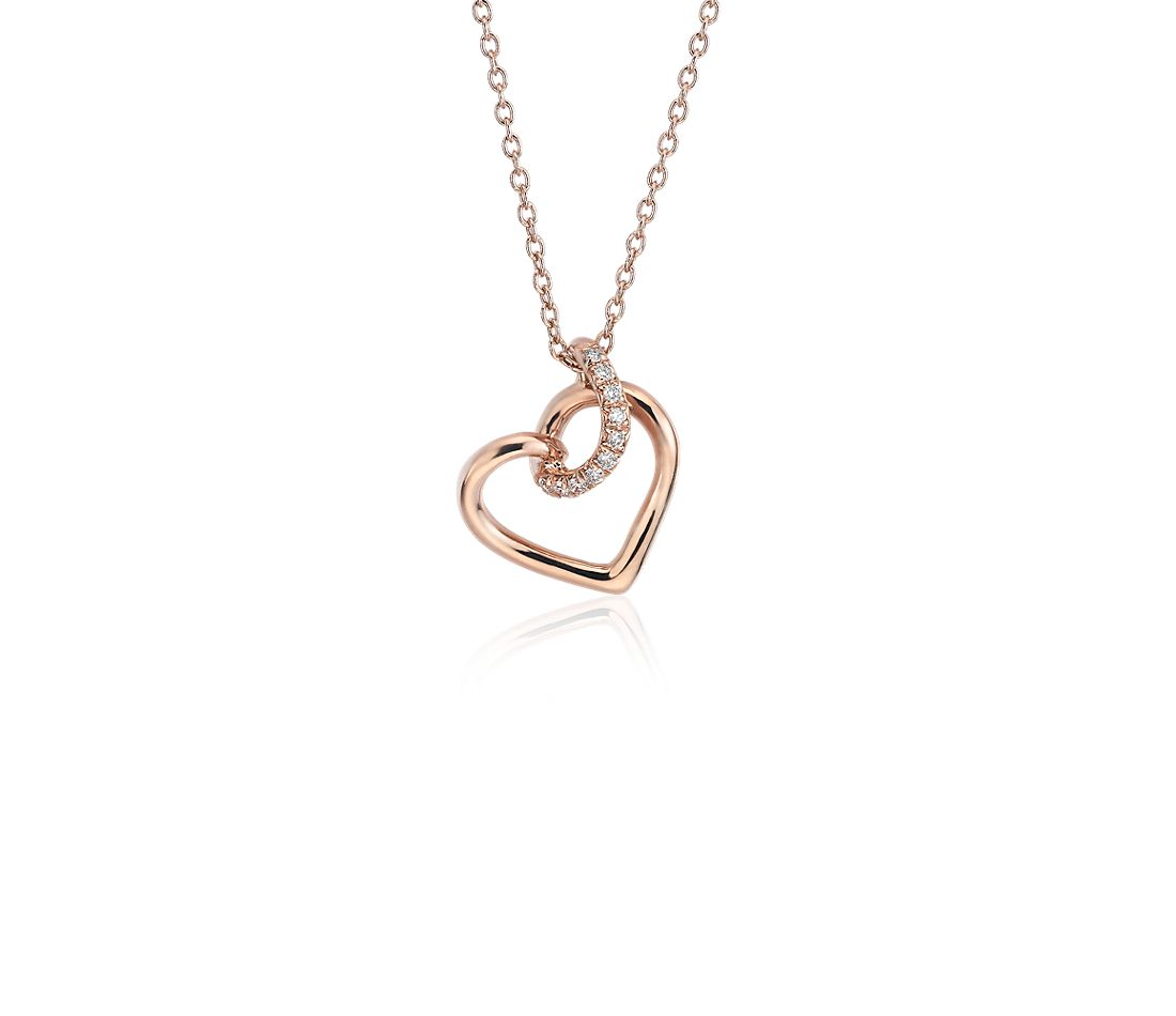 Diamond Twist Pavé Heart Pendant in 14k Rose Gold