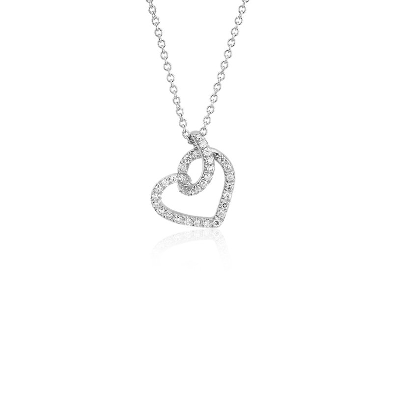 Diamond Twist Pavé Heart Pendant in 14k White Gold (1/6 ct