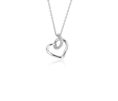 Diamond Twist Pavé Heart Pendant in 14k White Gold