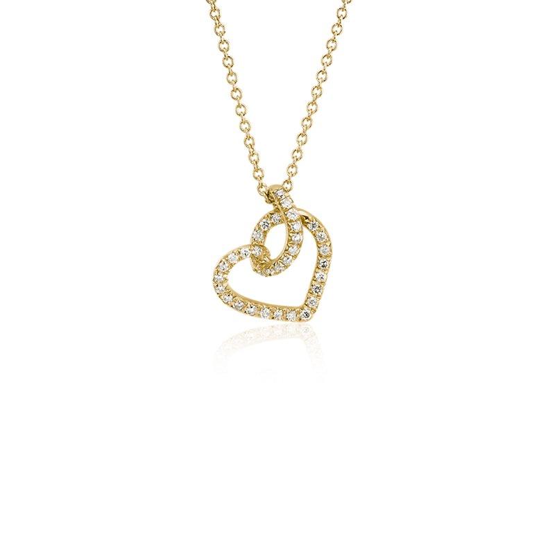 Diamond Twist Pavé Heart Pendant in 14k Yellow Gold (1/6 c