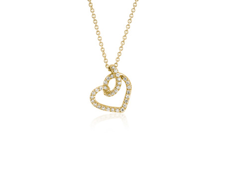 Diamond Twist Pavé Heart Pendant in 14k Yellow Gold (1/6 ct. tw.)