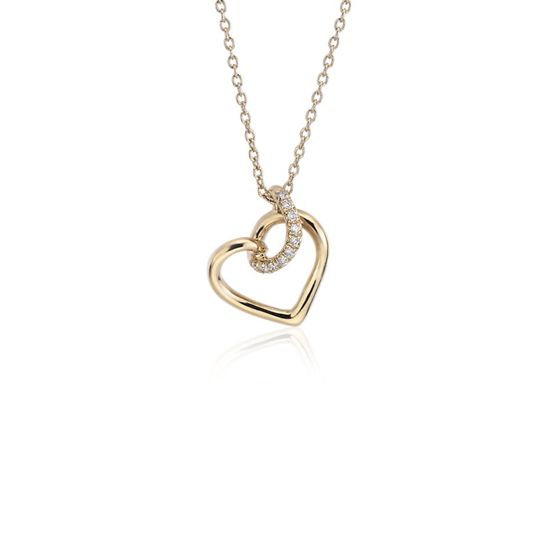 Diamond Twist Pavé Heart Pendant in 14k Yellow Gold