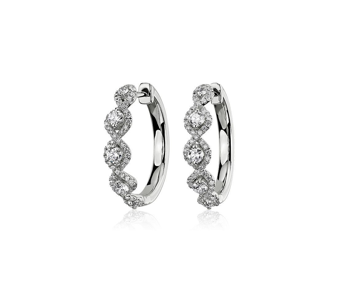 Diamond Twisted Halo Hoop Earrings in 14k White Gold (0.65 ct. tw.)