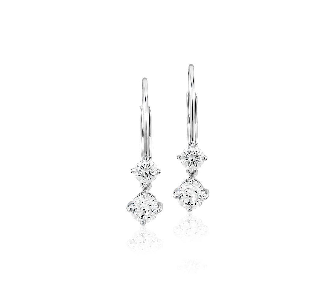 Diamond Two-Stone Drop Earrings in 14k White Gold (.90 ct. tw.)