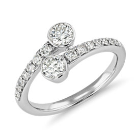 NEW Limited Edition Two-Stone Diamond Ring in 14k White Gold (3/4 ct. tw.)