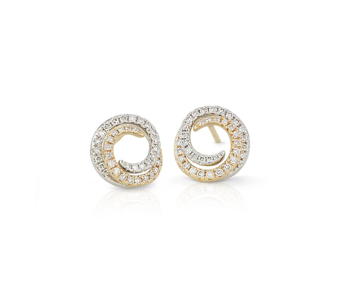 Boucles d'oreilles tourbillon bicolore en diamants en or jaune et blanc 14 carats