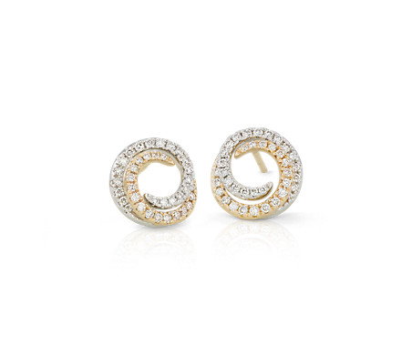 Diamond Two-Tone Swirl Earrings in 14k Yellow and White Gold