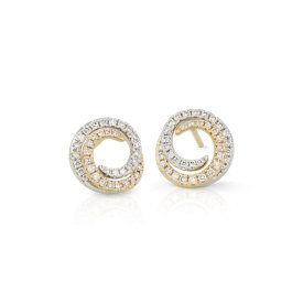 NEW Diamond Two-Tone Swirl Earrings in 14k Yellow and White Gold (1/2 ct. tw.)