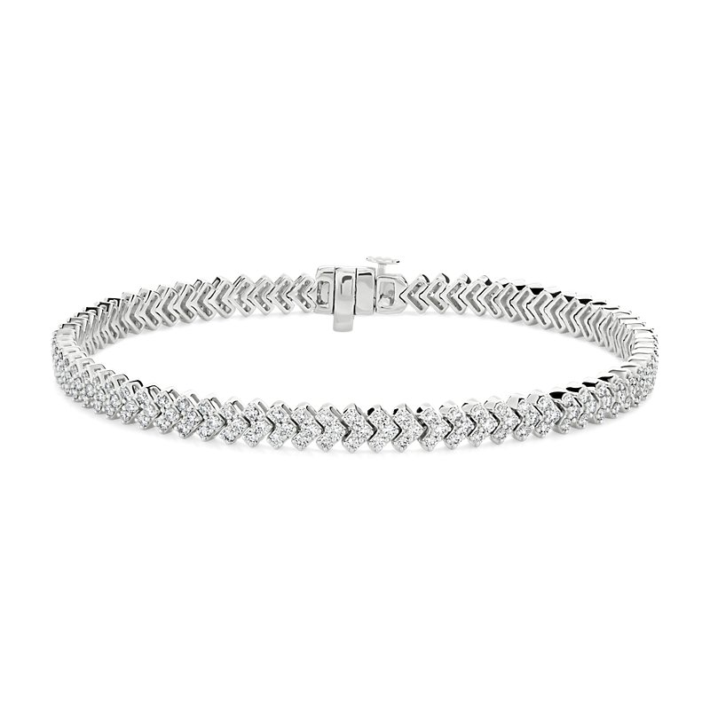 "Diamond ""V"" Fashion Bracelet in 14k White Gold (2 1/2 ct. tw.)"
