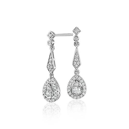 Blue Nile Diamond Twist Heart Pave Drop Earrings in 14k Yellow Gold (1/5 ct. tw.) nBdHFLTF