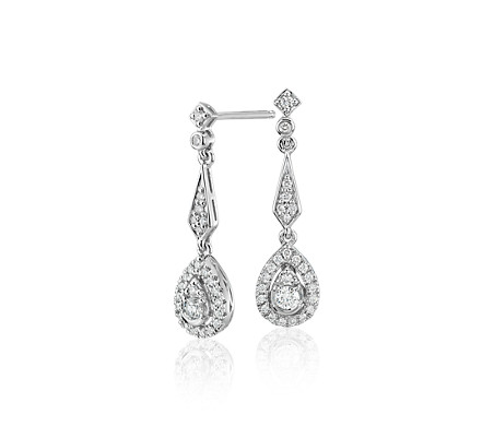 Boucles d'oreilles forme larme en diamant d'inspiration vintage en or blanc 14carats