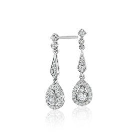 NEW Diamond Vintage-Inspired Teardrop Earrings in 14k White Gold