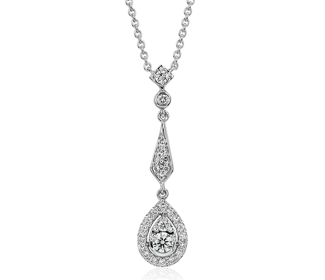 Diamond Vintage-Inspired Teardrop Pendant in 14k White Gold