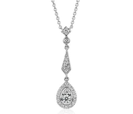 Colgante de diamantes en forma de lágrima abierta retro en oro blanco de 14 k