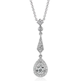 NEW Diamond Vintage-Inspired Teardrop Pendant in 14k White Gold