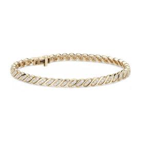 NOUVEAU Bracelet vague diamant Blue Nile Studio en or jaune 18carats (2carats, poids total)