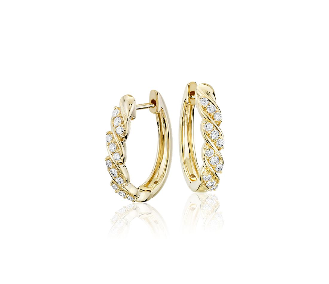 Blue Nile Studio Diamond Wave Hoop Earrings in 18k Yellow Gold (3/8 ct. tw.)