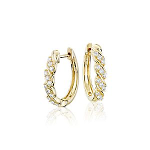 NEW Blue Nile Studio Diamond Wave Hoop Earrings in 18k Yellow Gold (3/8 ct. tw.)