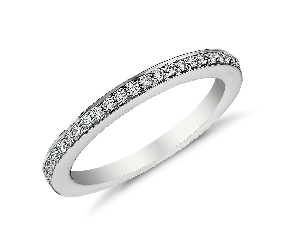 Pavé Diamond Ring in 18k White Gold