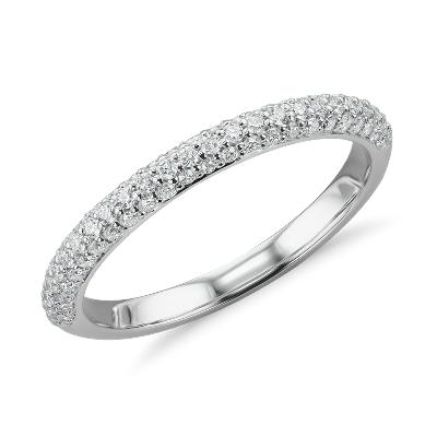 Trio Micropav Diamond Wedding Ring in 14K White Gold 13 ct tw