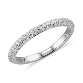 Trio Micropavé Diamond Wedding Ring in 14K White Gold