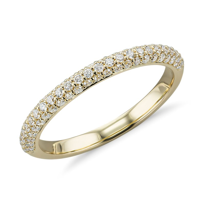 Trio Micropavé Diamond Wedding Ring in 18k Yellow Gold (1/