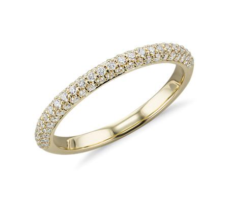 Trio Micropavé Diamond Wedding Ring in 18k Yellow Gold