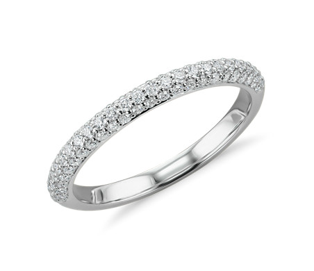 Trio Micropavé Diamond Wedding Ring in Platinum