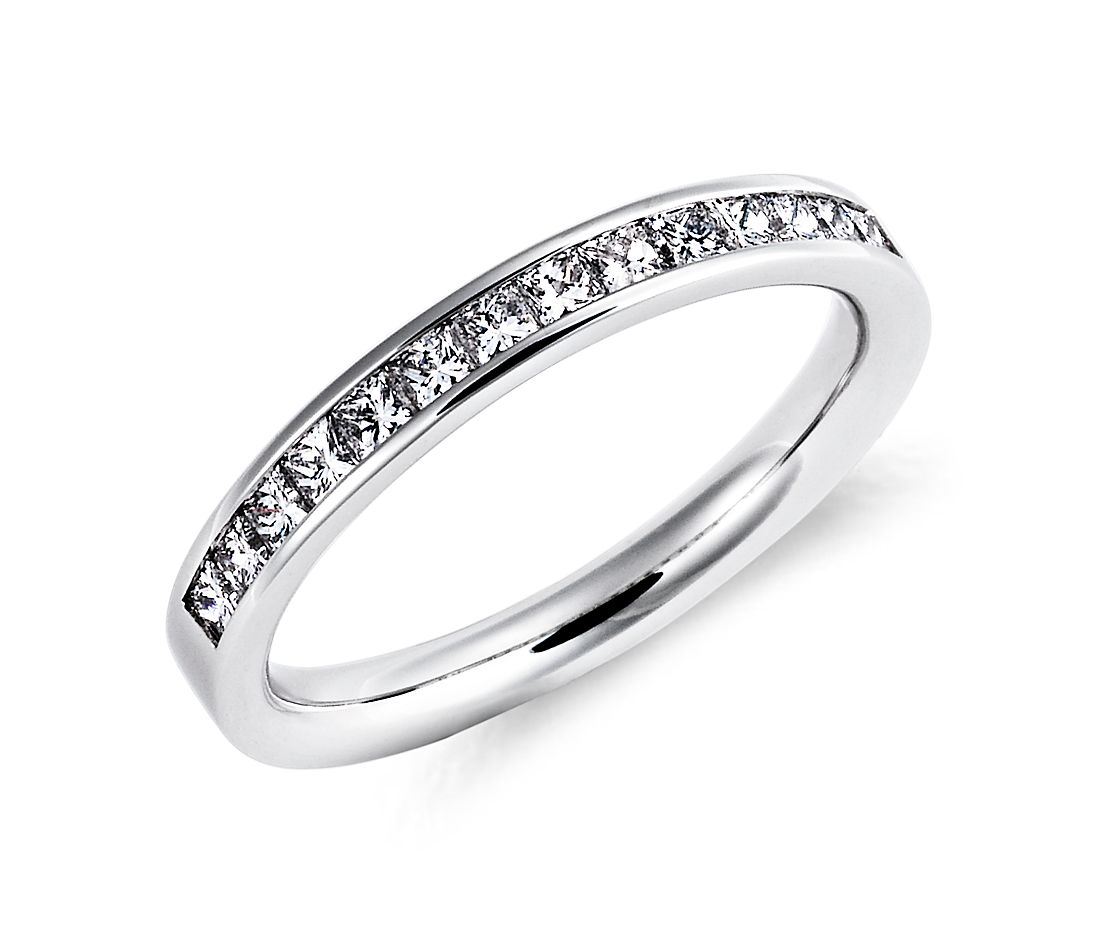 diamond wedding ring platinum platinum diamond wedding bands Channel Set Princess Cut Diamond Ring in Platinum 1 2 ct