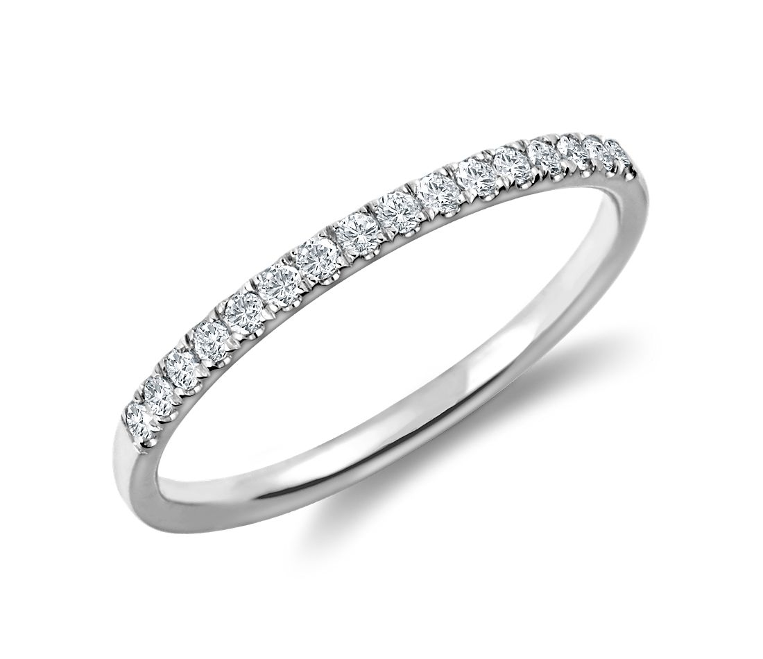 petite cathedral pav diamond ring in platinum 16 ct tw - Platinum Wedding Rings