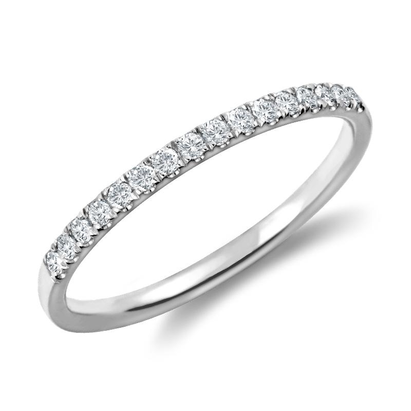 Petite Cathedral Pavé Diamond Ring in Platinum (1/6 ct. tw