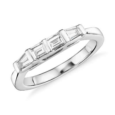 Classic Tapered Baguette Diamond Ring in 14k White Gold 13 ct