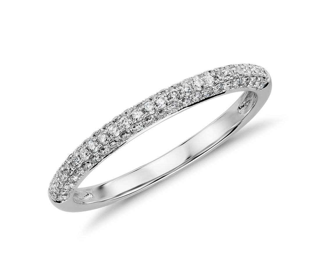 diamond wedding ring white gold wedding ring trios Trio Micropav Diamond Wedding Ring in 14K White Gold 1 3 ct tw