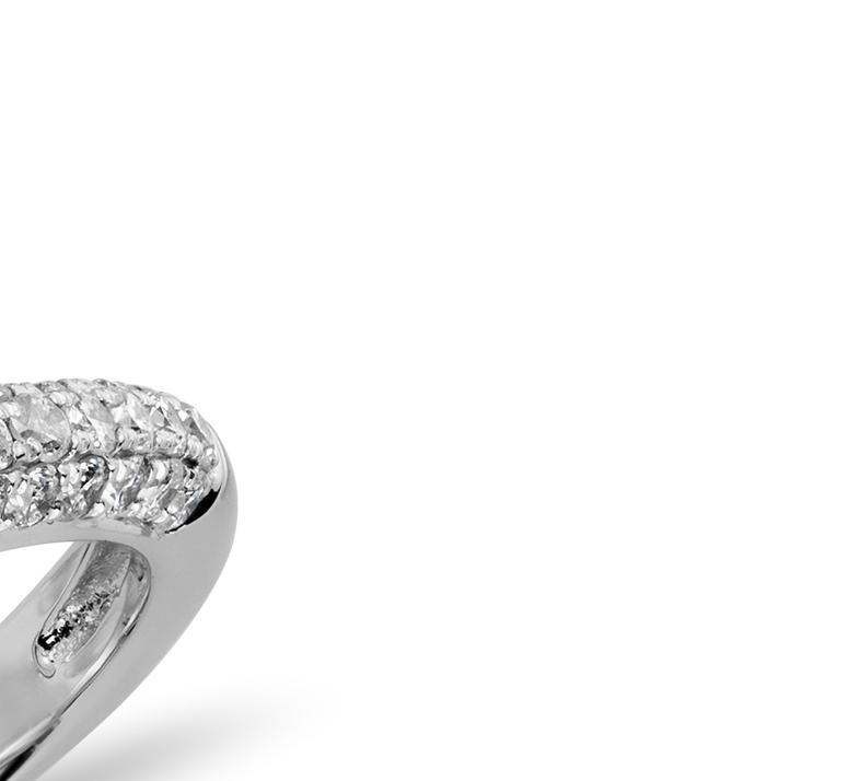 Alliance en diamants sertis micro-pavé trio en or blanc 14carats (1/3carat, poids total)