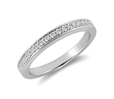 Cathedral Pavé Diamond Ring in 18k White Gold
