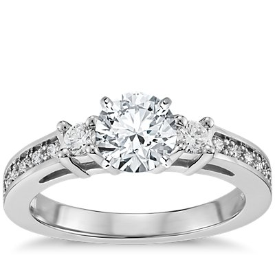 Trio Pavé Diamond Engagement Ring in 14k White Gold