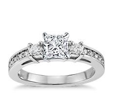 Trio Pavé Diamond Engagement Ring in 14k White Gold (0.24 ct. tw.)