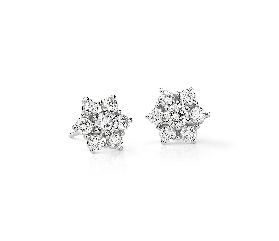 Fleur Diamond Stud Earrings In 18k White Gold 1 2 Ct Tw