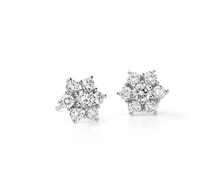Fleur Diamond Stud Earrings in 18k White Gold (1 1/2 ct. tw.)