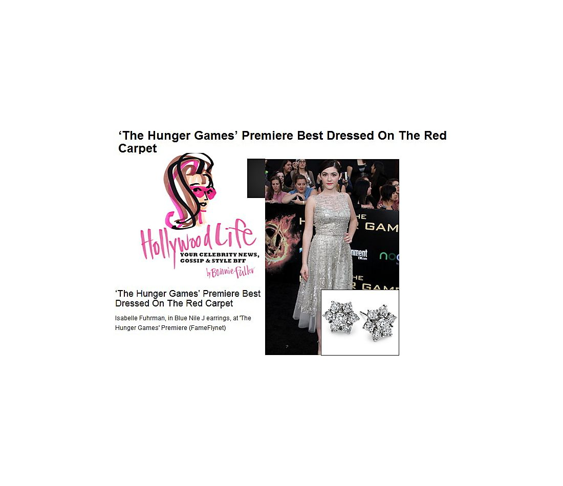 HollywoodLife - Isabelle Fuhrman wearing Fleur Diamond Earrings at The Hunger Games Premiere