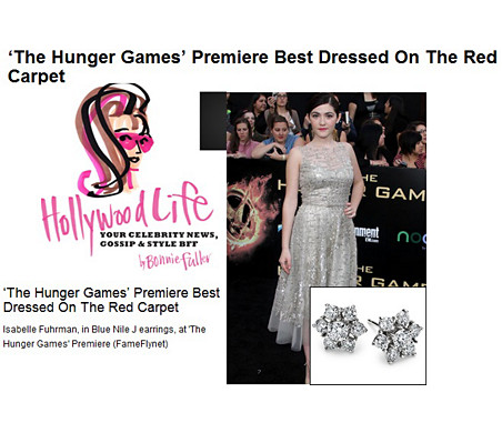 HollywoodLife─Isabelle Fuhrman 在 The Hunger Games 首映中配戴的花卉鑽石耳環