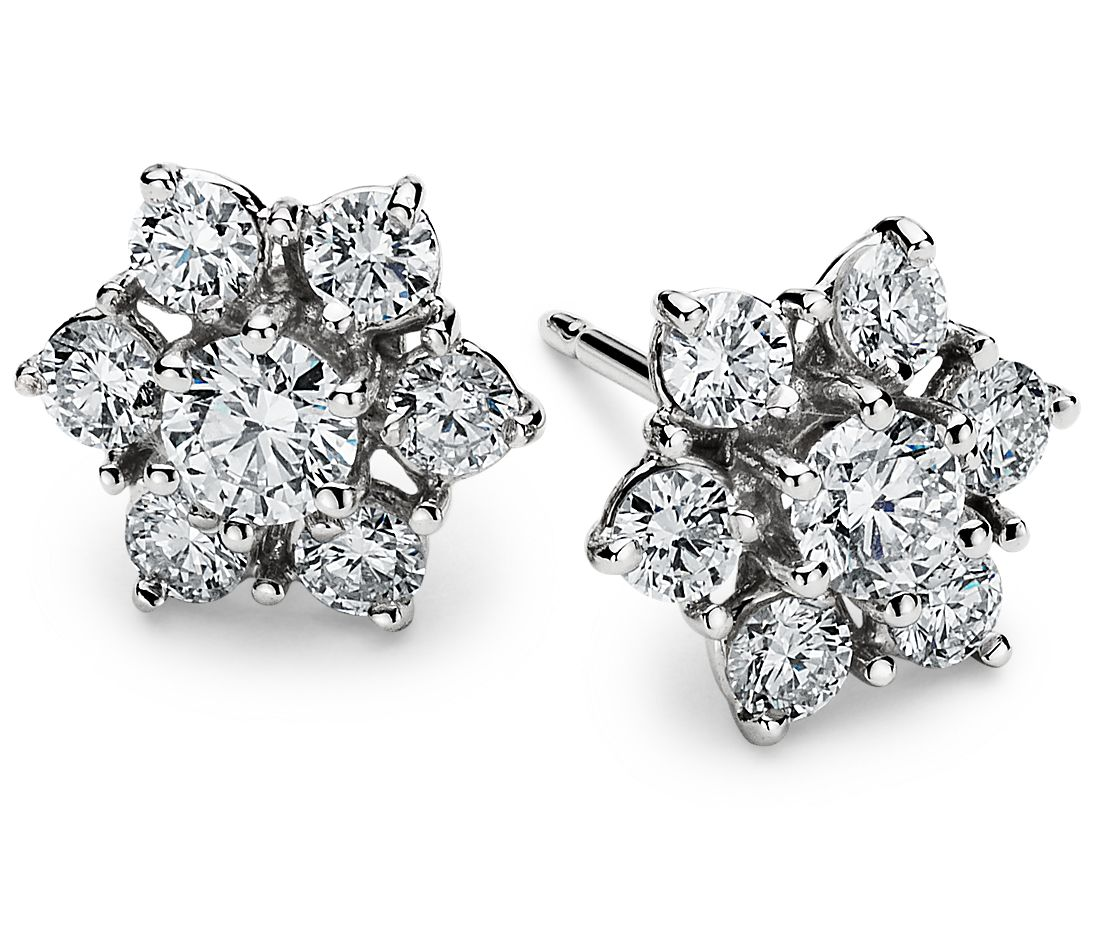 Fleur Diamond Earrings in 18k White Gold (1 1/2 ct. tw.)