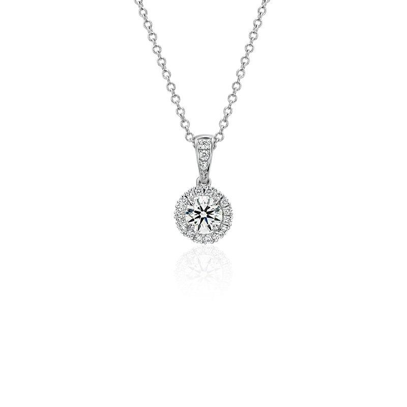 Halo Diamond Pendant in 18k White Gold (1/2 ct. tw.)