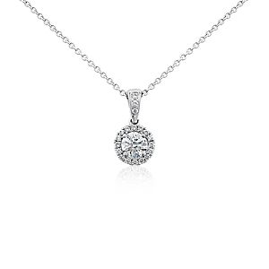 Halo Diamond Pendant in 18k White Gold (1/2 ct. tw.)