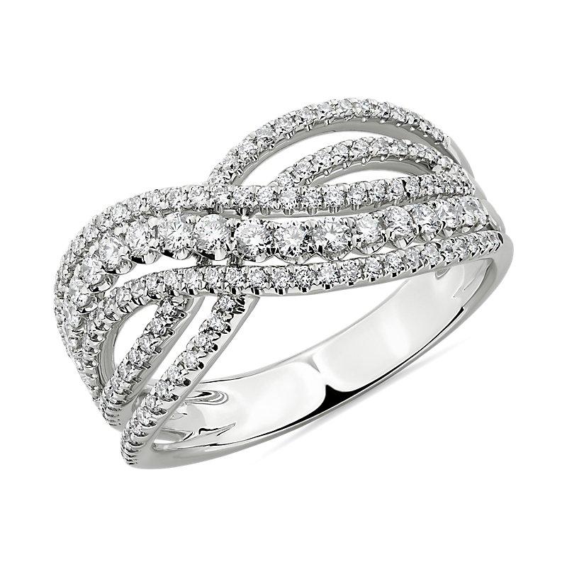 Diamond Woven Fashion Ring in 14K White Gold (3/4 ct. tw.)
