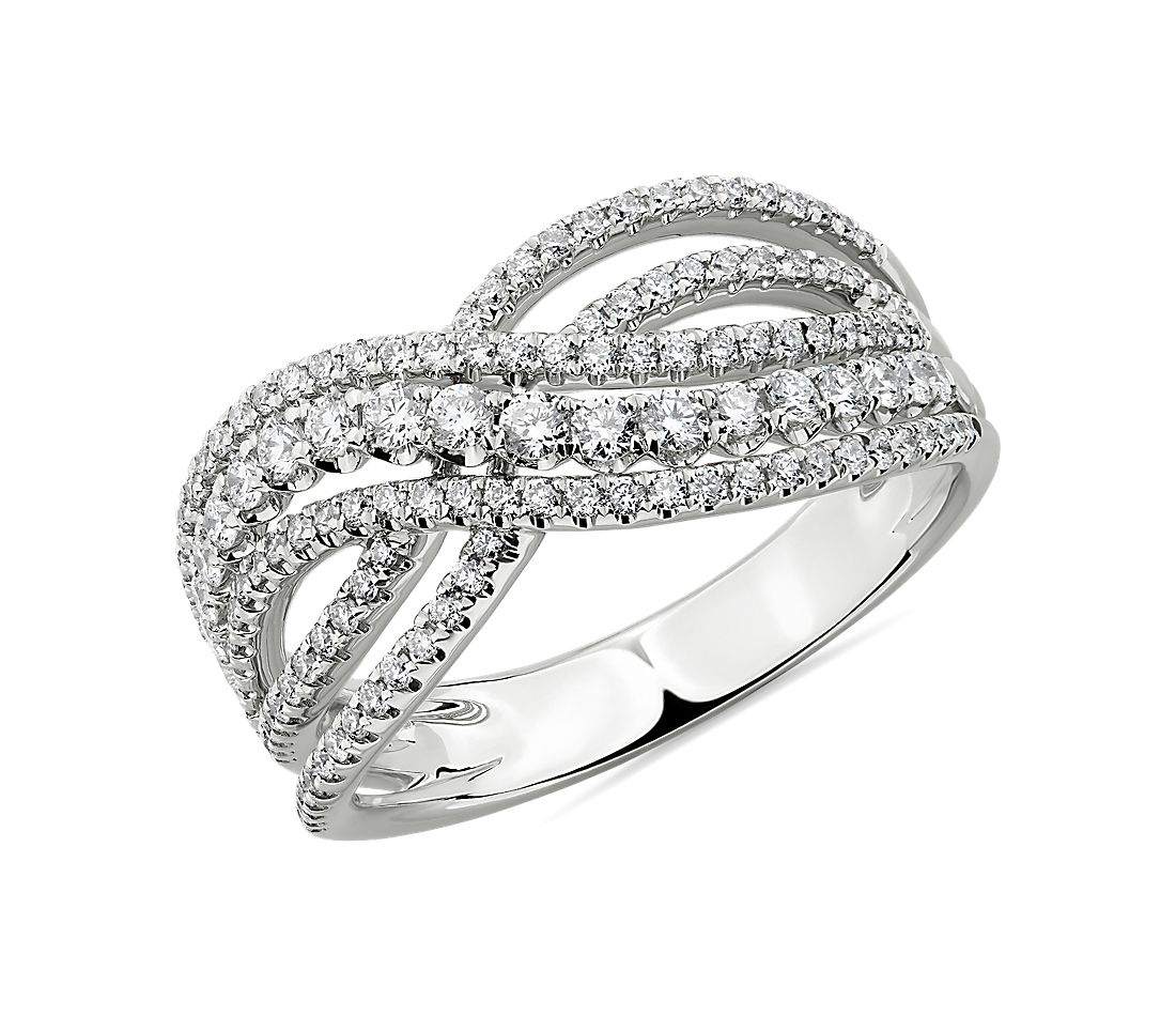 Diamond Woven Fashion Ring in 14K White Gold (3/4 ct. tw.)