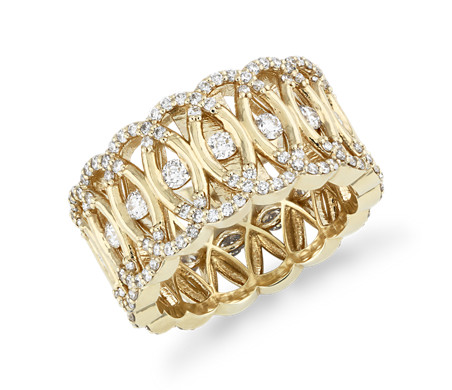Bella Vaughan Woven Lace Diamond Eternity Ring in 18k Yellow Gold
