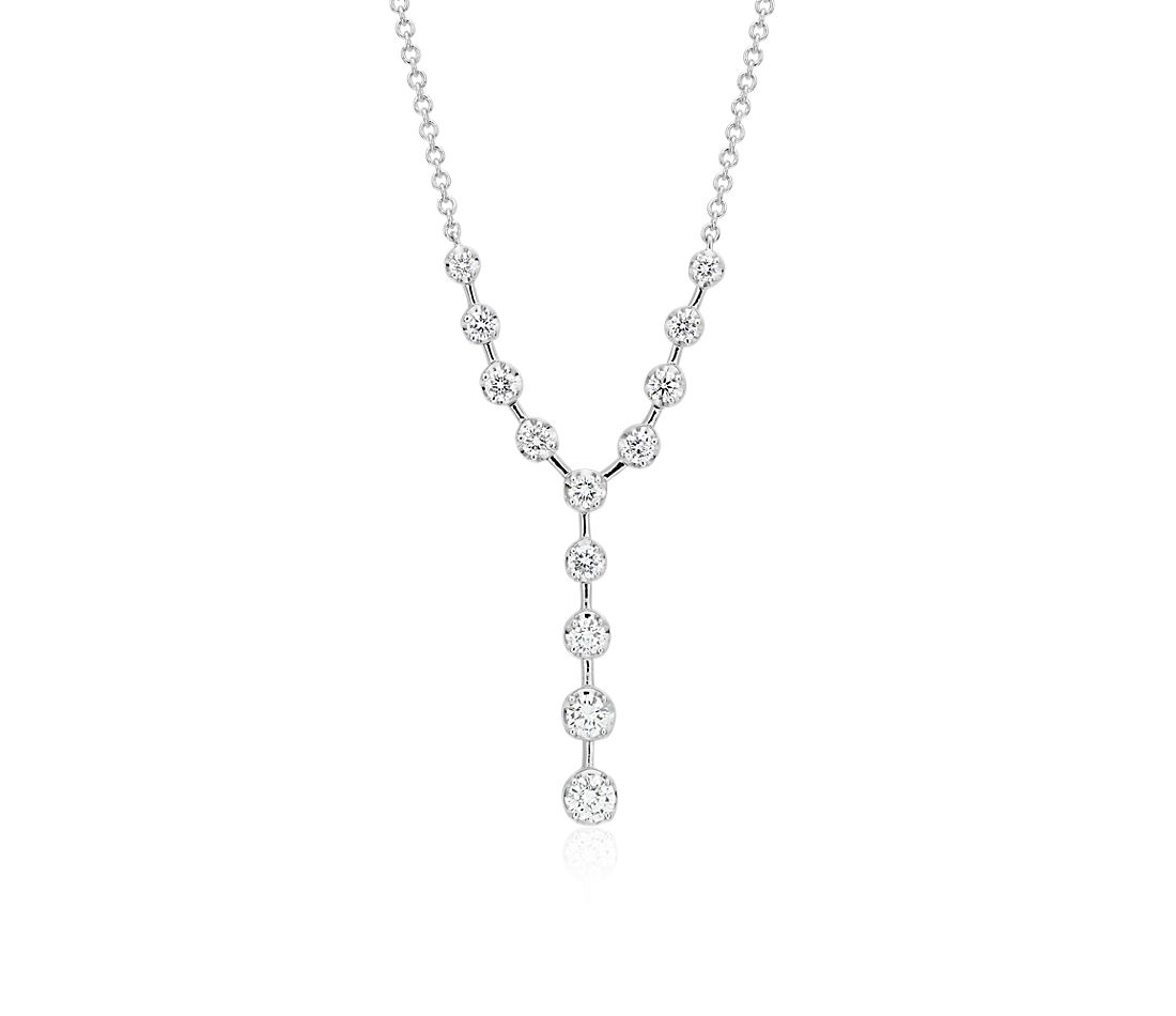 Diamond Y Necklace In 18k White Gold 1 2 Ct Tw Blue Nile