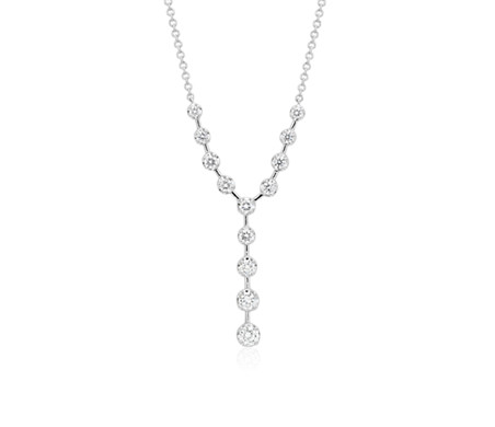 Collier de diamants en Y en or blanc 18 carats (1/2 carat, poids total)