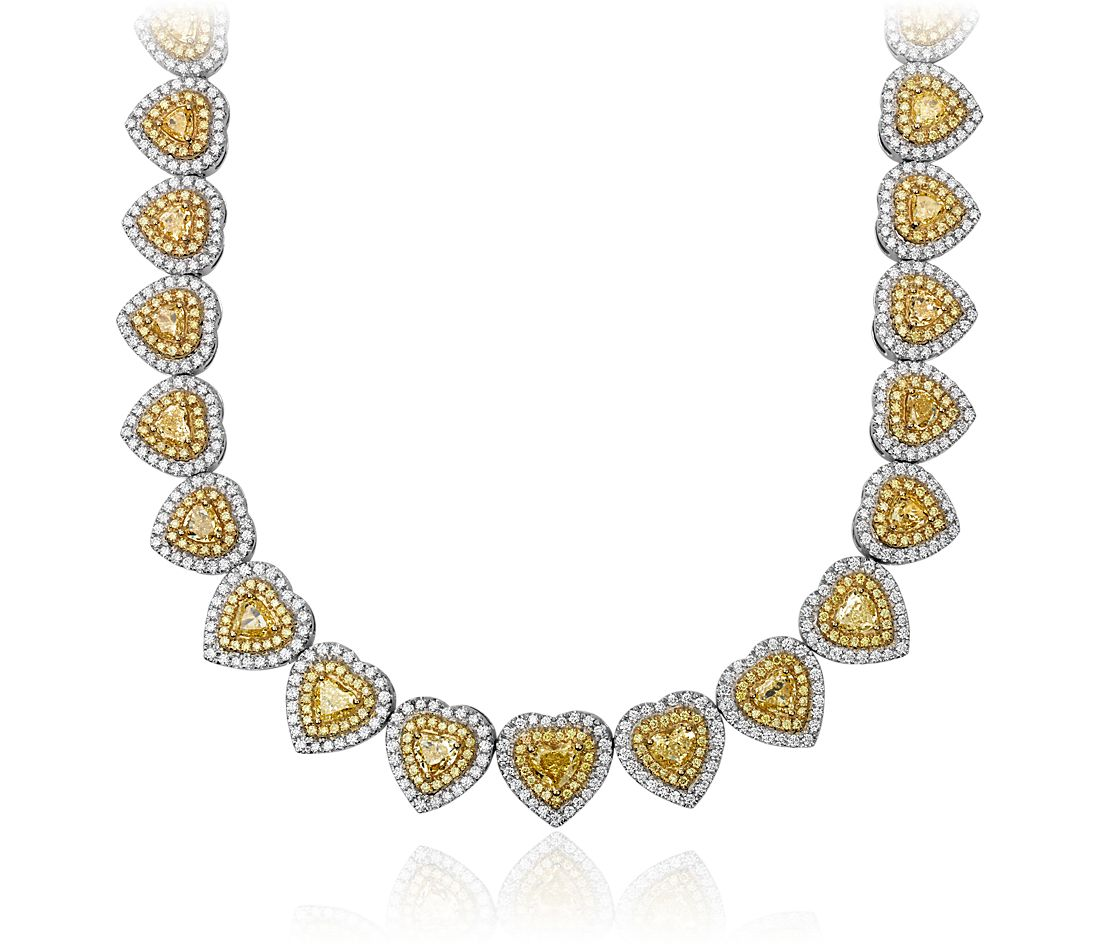 6f9d2b3c8a696 Yellow and White Diamond Heart Shape Infinity Necklace in 18K White Gold  (22.5 ct. tw.)